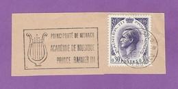 MONACO TIMBRE OBLITERE SUR FRAGMENT FLAMME ACADEMIE DE MUSIQUE RAINIER III - Marcophilie - EMA (Empreintes Machines)