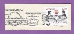 MONACO TIMBRE OBLITERE SUR FRAGMENT FLAMME FOIRE ATTRACTIONS DE MONACO MANEGE ET GRANDE ROUE - Marcophilie - EMA (Empreintes Machines)
