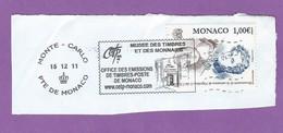 MONACO TIMBRE OBLITERE SUR FRAGMENT FLAMME MUSEE DES TIMBRES ET DES MONNAIES TIMBRE NAPOLEON II DIT L AIGLON - Marcophilie - EMA (Empreintes Machines)