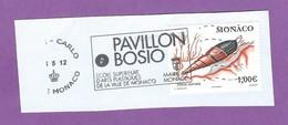 MONACO TIMBRE OBLITERE SUR FRAGMENT FLAMME PAVILLON BOSIO ECOLE SUPERIEURE D ARTS PLASTIQUES - Marcophilie - EMA (Empreintes Machines)