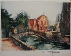 Ancienne  Eau Forte De  CHABRIDON  -  LE  PETIT PONT  1  - Signée Au Crayon En Bas à Droite - Engravings