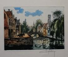 Ancienne  Eau Forte De  CHABRIDON  -  LE  PETIT PONT  2  - Signée Au Crayon En Bas à Droite - Engravings