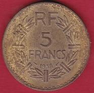 France 5 Francs Lavrillier Cupro-alu - 1938 - France