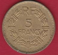 France 5 Francs Lavrillier Cupro-alu - 1939 - France