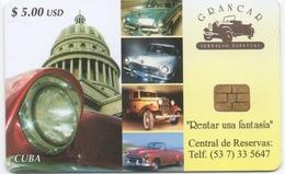 Empresa De Telecomunicaciones De Cuba S.A. : US$5 : Voitures Anciennes Classic Cars
