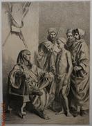 Ancienne Et Rare  Gravure D' Alexandre Bida (1823 - 1895), Moïse Et Le Pharaon   Égypte   Chine Collé - Engravings