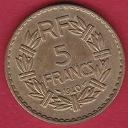 France 5 Francs Lavrillier Cupro-alu - 1940 - SUP - France