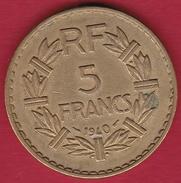 France 5 Francs Lavrillier Cupro-alu - 1940 - France