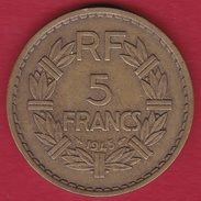 France 5 Francs Lavrillier Cupro-alu - 1945 - France
