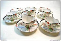 Ancien Service A Thé Japonais / Chinois ? 5 Tasses + Sous-coupes + 3 Petites Assiettes. Porcelaine Très Fine Décoré Main - Ucagco (JPN)