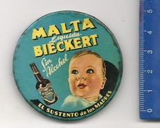 Malta Liquida BIECKERT - Espejo Publicitario Esmaltado De 5 Cm - Publicidad De Argentina C/1950´s - Specchi