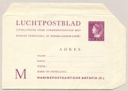 Nederland - 1947 - 10 Cent Konijnenburg, LP-blad M, G1b Voor Post Naar Marine/Mariniers In Nederlandsch Indië - Postal Stationery