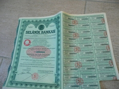 Selanik Bankasi - Banque De Salonique 1934 Istanbul Turquie 1 LT - Banque & Assurance
