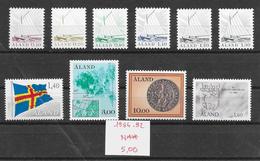 Finlande Aland N°1 à 6, 11 à 13, 65 1984-92 ** - Aland