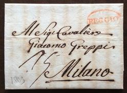 PREFILATELICA DA REGGIO EMILIA A MILANO IN DATA 39/9/1809  LUNGO TESTO DI VINCENZO BOSISIO AL CONTE GIACOMO GREPPI - 1. ...-1850 Prephilately