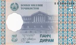 TADJIKISTAN   5 Diram   1999 (2000)   P. 11a   UNC - Tadjikistan