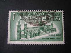 REGNO - Repubblica Sociale 1944, Espresso, Duomo, L. 1,25 Verde, Us TTB - 4. 1944-45 Repubblica Sociale