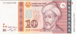 TAJIKISTAN   10 Somoni   1999 (2000).   P. 16a - Tadjikistan