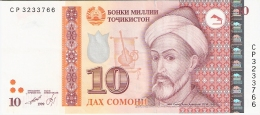 TAJIKISTAN   10 Somoni   1999 (2000).   P. 16a - Tajikistan