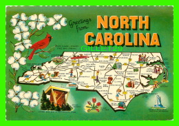 MAP - GREETINGS FROM NORTH CAROLINA - DEXTER PRESS - - Cartes Géographiques