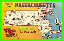 MAP - CARTE GÉOGRAPHIQUE - GREETINGS FROM MASSACHUSETTS -  DEXTER PRESS INC - - Cartes Géographiques
