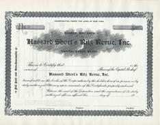 HWP Aktie Share Shares Hassard Short's Ritz Revue Inc. New York Um 1900 No. 3 - Blanco 100 $ - USA / America - Kino & Theater