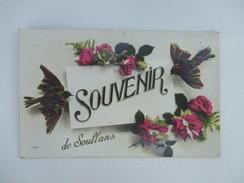 CPA  85 FANTAISIE SOUVENIR DE SOULLANS FLEURS ROSES OISEAUX - Soullans