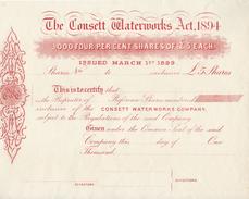 HWP Aktie Share Shares England The Consett Waterworks Act 1894 - Issued 1899 - Blanco 5 Pfund - Großbritannien - Wasser
