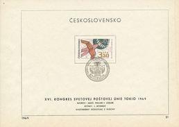 Czechoslovakia / First Day Sheet (1969/21) Bratislava: IX. Congress Of The Universal Postal Union (UPU) - Tokyo 1969 - UPU (Union Postale Universelle)
