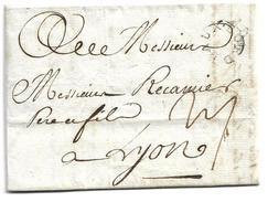 Mention Bordeaux En Noir Marque Circulaire Peu Commune Lenain N20 Lettre Datée 20 Mars 1787 Adressée à Lyon - 1701-1800: Precursores XVIII