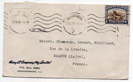Afrique Du Sud--1950--lettre De Johannesbourg Pour Roanne (France)--timbre Seul Sur Lettre--oblitération A - South Africa (...-1961)