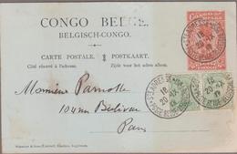 STE ADRESSE*POSTE BELGE* 1917 / Entier CONGO BELGE Type Palmiers 10c Rouge/orange + TP Belge N°137x2 Pour Paris - Guerre 14-18