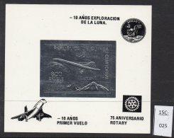 Equatorial Guinea Aircraft Concorde Apollo 11 Rotary SILVER M/s. Lollini C24BA. Mint.