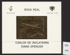Equatorial Guinea Concorde GOLD M/s With IYC Charles Diana Royal Wedding Espana 82 Football In Border. Mint