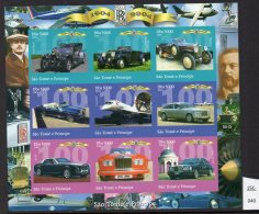 Sao Tome St. Thomas & Prince 2004 Cars Rolls-Royce, Concorde IMPERF Sheetlet/9 MNH