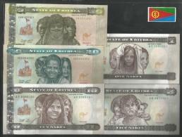 ERITREA SET 5 PCS 1,5,10,20,50 NAKFA   UNC. - Eritrea