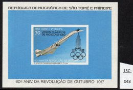 Sao Tome St. Thomas & Prince 1981 Concorde M/s With Moscow Olympics Jeux Olympiques Opt. MNH. IMPERF