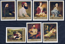 HUNGARY 1967 National Gallery Paintings Imperforate Set MNH / **.  Michel 2330-36B - Hungary