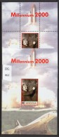 Angola Einstein Millennium M/s Issue With Concorde And Space Shuttle In Margin, Perf And Imperf (2 M/s) MNH.