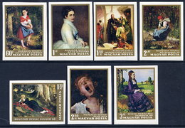 HUNGARY 1966 NAtional Gallery Paintings Imperforate Set MNH / **.  Michel 2291-97B - Hungary