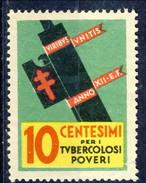 Erinnofili, Italia, 1934, Depero, Campagna Antitubercolosi - Italia