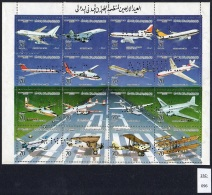 Libya 1984 Aircraft Sheetlet Perforated With Printers' Archive Punch - Poor Condition But Interesting. Concorde Li