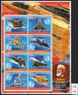Iraqi Kurdistan : Jules Verne Aircraft Sheetlet/8 Concorde Space Shuttle Etc. MNH
