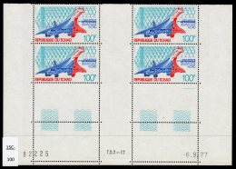 Chad Tchad 1977 (Sept) 100Fr Concorde In Inter-panneau Coin Date Block/4 MNH. Lollini C9