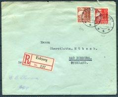 1929 Denmark Esbjerg 35 Ore + 15 Ore Registered J.P.H.V. Aeltester Fachverein Cover - Bad Homberg, Germany - Covers & Documents