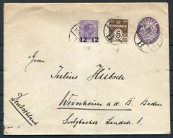 1926 Denmark 12 Ore Provisional Uprated 15 Ore Stationery Cover - Weinheim Germany - Covers & Documents