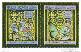 CONGO 2012 ** 2v Gold Butterflies & Scouts Schmetterlinge & Pfadfinder Papillons & Scouts - OFFICIAL ISSUE - - Butterflies