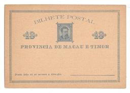 Macau Timor Macao Postal Stationery Card 10 Reis 1885 Unused - Covers & Documents