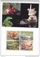 FDC Maximum Card SEA OTTER  HIPPO  SWAN, LIZARD Stamps United Nations Geneve ,birds, Hippopotamus Un Cover Bird