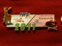 PUZZLE DE 2 PIN'S : 4 éme SALON DU PIN'S WARMERIVILLE 2011 - CHASSE ET PECHE - RADIO - CREDIT AGRICOLE - Steden